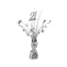 Balloon Weight Centrepiece & Spray Number 21 Silver 30cmH