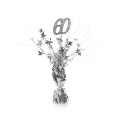 Balloon Weight Centrepiece & Spray Number 60 Silver 30cmH