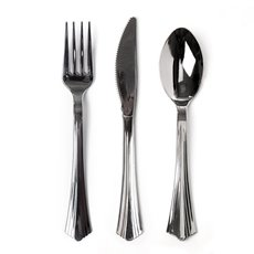 Party Tableware - Assorted Deluxe Cultery Chrome Silver (19cm) Pack 24