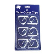 Party Tablecloths & Napkins - Tablecover Clips Clear Pack 6