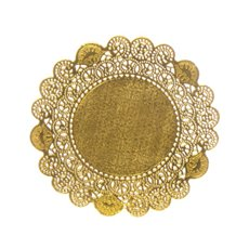 Party Tablecloths & Napkins - Paper Doily Round 12 Pack Gold (16.6cmD)