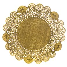 Party Tablecloths & Napkins - Paper Doily Round 12 Pack Gold (21.5cmD)