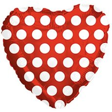 Foil Balloon 9 (22.5cm Dia) Heart Polka Dots White