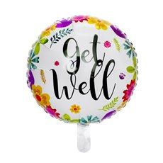 Foil Balloons - Foil Balloon 18 (45cmD) Round Floral Get Well