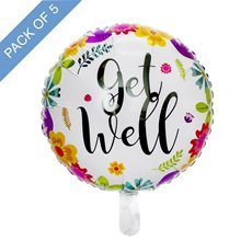 Foil Balloons - Foil Balloon 18 (45cmD) Pack 5 Round Floral Get Well