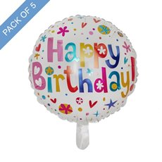 Foil Balloons - Foil Balloon 18 (45cmD) Pack 5 Round Happy Birthday