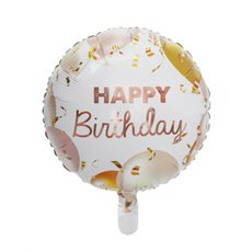 Foil Balloons - Foil Balloon 18 (45cmD) Round Happy Birthday Rose Gold