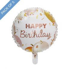 Foil Balloons - Foil Balloon 18 (45cmD)Pack5 Round Happy Birthday Rose Gold