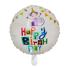 Foil Balloons - Foil Balloon 18 (45cmD) Round Monkey Happy Birthday