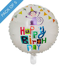 Foil Balloons - Foil Balloon 18 (45cmD) Pack 5 Round Monkey Happy Birthday