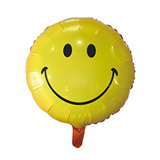Foil Balloons - Foil Balloon 18 (45cmD) Round Smiley Face Yellow