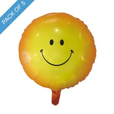 Foil Balloons - Foil Balloon 18 (45cmD) Pack 5 Round Smiley Face Yellow