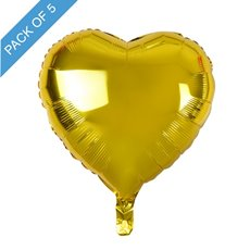 Foil Balloons - Foil Balloon 18 (45cm) Pack 5 Heart Shape Solid Gold