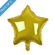 Foil Balloons - Foil Balloon 19 (48cm) Pack 5 Star Shape Solid Gold