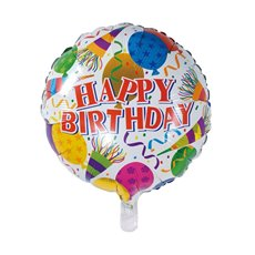 Foil Balloons - Foil Balloon 18 (45cmD) Round Happy Birthday Balloons