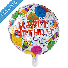 Foil Balloons - Foil Balloon 18 (45cmD) Pack5 Round Happy Birthday Balloons