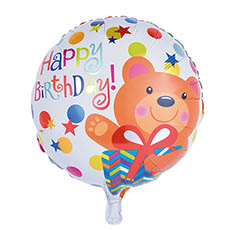 Foil Balloons - Foil Balloon 18 (45cmD) Round Happy Birthday Bear