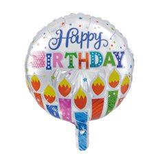 Foil Balloons - Foil Balloon 18 (45cmD) Round Happy Birthday Candles