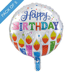 Foil Balloons - Foil Balloon 18 (45cmD) Pack5 Round Happy Birthday Candles