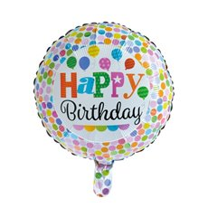 Foil Balloons - Foil Balloon 18 (45cmD) Round Happy Birthday Dots