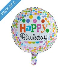 Foil Balloons - Foil Balloon 18 (45cmD) Pack 5 Round Happy Birthday Dots