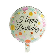 Foil Balloons - Foil Balloon 18 (45cmD) Round Happy Birthday Flowers