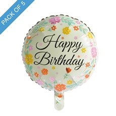 Foil Balloons - Foil Balloon 18 (45cmD) Pack 5 Round Happy Birthday Flowers