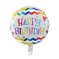 Foil Balloons - Foil Balloon 18 (45cmD) Round Happy Birthday Zig Zag