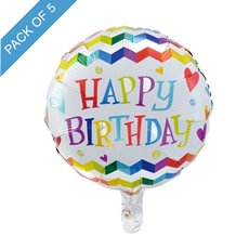 Foil Balloons - Foil Balloon 18 (45cmD) Pack 5 Round Happy Birthday Zig Zag