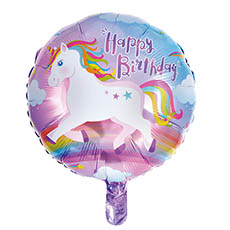 Foil Balloons - Foil Balloon 18 (45cmD) Round Happy Birthday Unicorn
