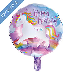 Foil Balloons - Foil Balloon 18 (45cmD) Pack 5 Round Happy Birthday Unicorn