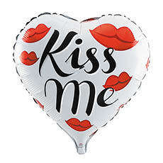 Foil Balloons - Foil Balloon 18 (45cmD) Heart Shape Kiss Me