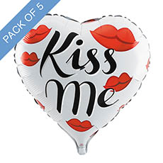 Foil Balloons - Foil Balloon 18 (45cmD) Pack 5 Heart Shape Kiss Me