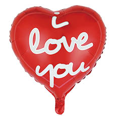 Foil Balloons - Foil Balloon 18(45cmD) Heart Shape I Love You Modern Script