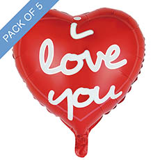 Foil Balloons - Foil Balloon 18 (45cmD) Pack5 Heart I Love You Modern