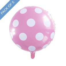 Foil Balloons - Foil Balloon 18 (45cmD) Pack 5 Round Large Dot Baby Pink