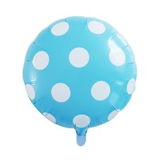 Foil Balloons - Foil Balloon 18 (45cmD) Round Large Dot Baby Blue