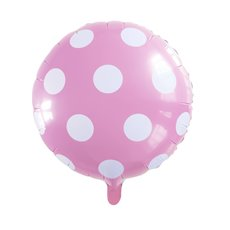 Foil Balloons - Foil Balloon 18 (45cmD) Round Large Dot Baby Pink