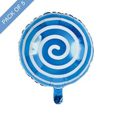 Foil Balloons - Foil Balloon 18 (45cmD) Pack 5 Round Lollipop Baby Blue