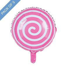 Foil Balloons - Foil Balloon 18 (45cmD) Pack 5 Round Lollipop Baby Pink