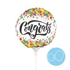 Foil Balloons - Foil Balloon 9 (22.5cmD) Air Filled Round Confetti Congrats