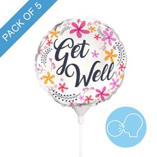 Foil Balloons - Foil Balloon 9 (22.5cmD) Pack 5 Round Frangipani Get Well