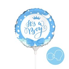 Foil Balloons - Foil Balloon 9 (22.5cmD) Air FIll Round Ribbon Its a Boy