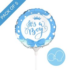 Foil Balloons - Foil Balloon 9 (22.5cmD) Pack 5 Round Ribbon Its a Boy
