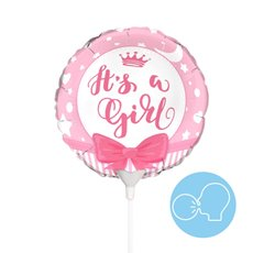 Foil Balloons - Foil Balloon 9 (22.5cmD) Air Fill Round Ribbon Its a Girl