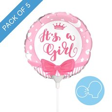 Foil Balloons - Foil Balloon 9 (22.5cmD) Pack 5 Round Ribbon Its a Girl
