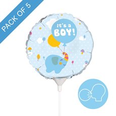 Foil Balloons - Foil Balloon 9 (22.5cmD) Pack 5 Round Elephant Its a Boy