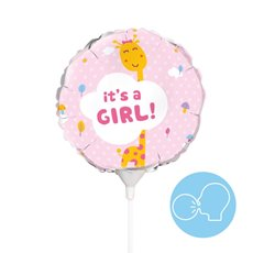 Foil Balloons - Foil Balloon 9 (22.5cmD) Air Fill Round Giraffe Its a Girl