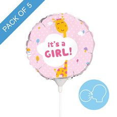 Foil Balloons - Foil Balloon 9 (22.5cmD) Pack 5 Round Giraffe Its a Girl
