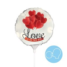Foil Balloons - Foil Balloon 9 (22.5cmD) Air Fill Round Love Is In The Air